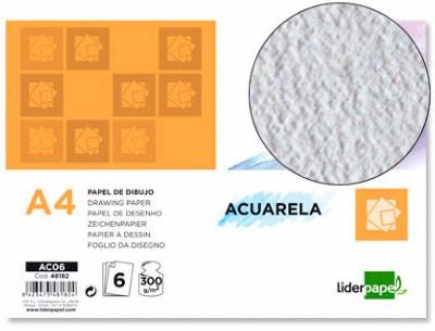 PAPEL DIBUJO DIN A-4  300GRS ACUARELA PACK 6 HOJAS