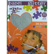 Stack Papel Glitter Plata  A-4 (10 hojas)