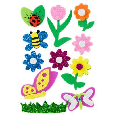 ac303a06557 Figuras Goma EVA Adhesiva 3D con purpurina Flores e Insectos