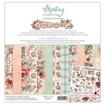 Kit de Papeles Scrap 30x30 Mintay By Karola  Love Letters