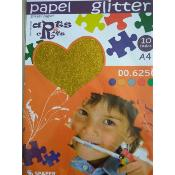 Stack Papel Glitter Oro  A-4 (10 hojas)