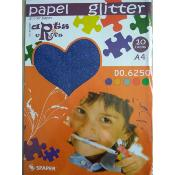 Stack Papel Glitter Azul  A-4 (10 hojas)