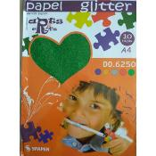 Stack Papel Glitter Verde  A-4 (10 hojas)