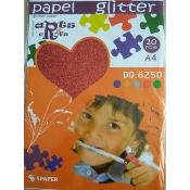 Stack Papel Glitter Rojo A-4 (10 hojas)
