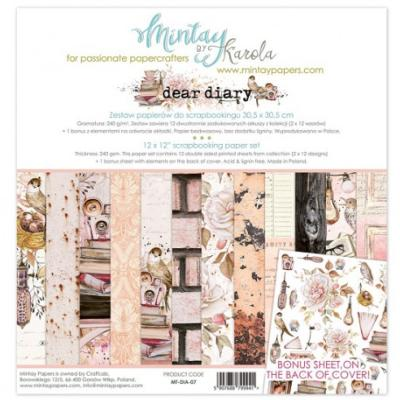 Kit de Papeles Scrap 30x30 Mintay By Karola Dear Diary