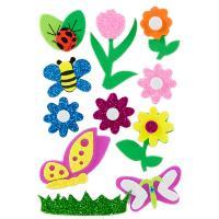 0a12258f5b0 Figuras Goma EVA Adhesiva 3D con purpurina Flores e Insectos